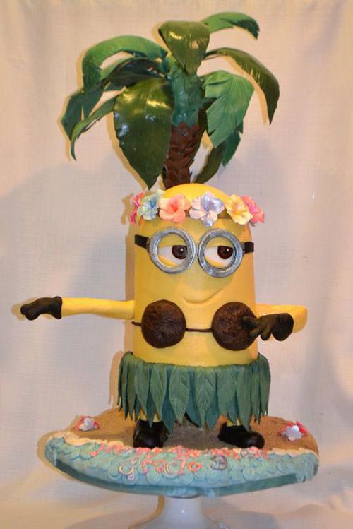 Torta dei Minions con decorazioni in pasta di zucchero n.40