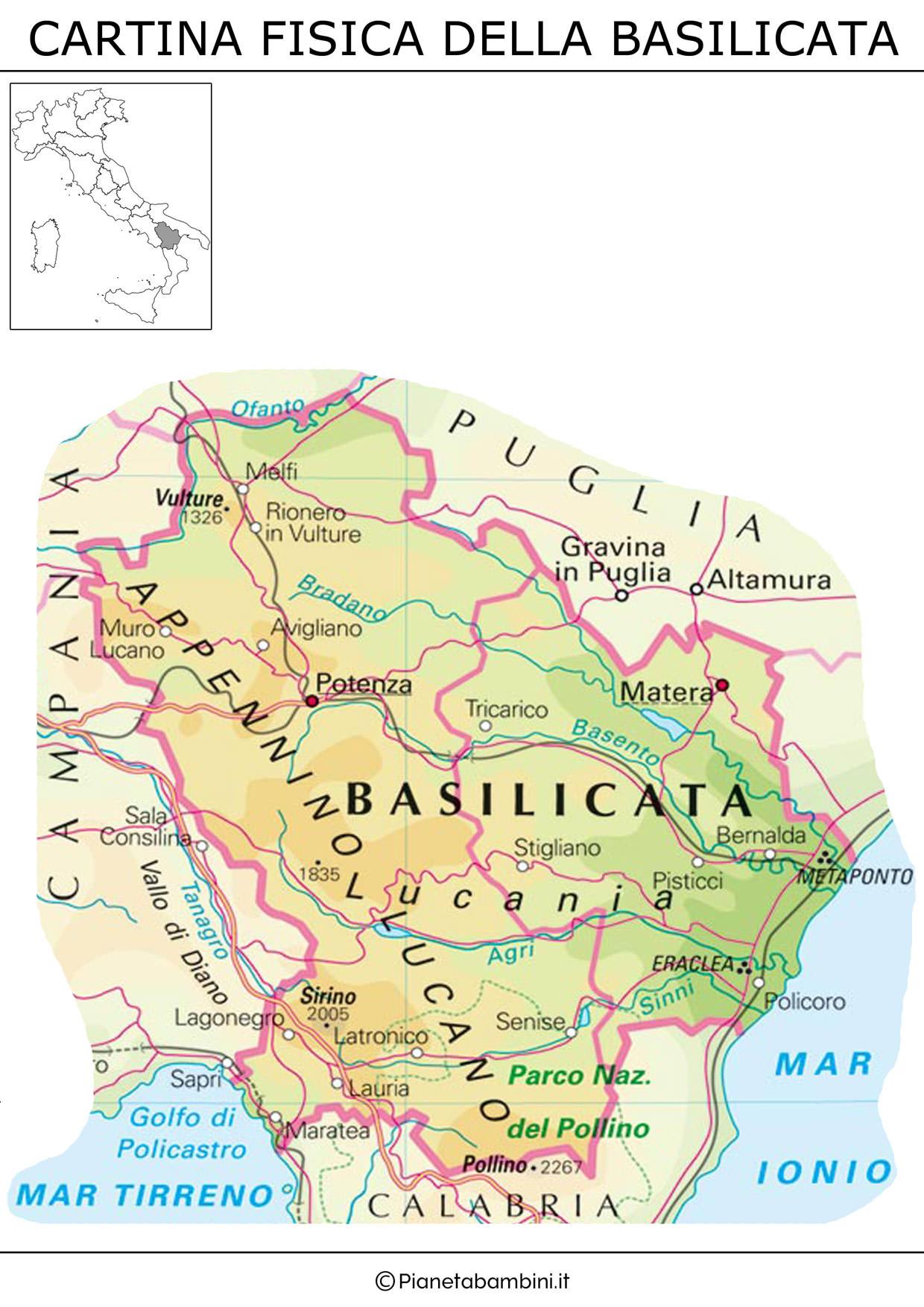 Cartina della Basilicata in versione fisica da stampare gratis