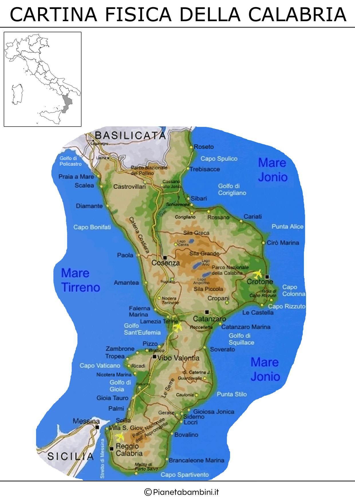 Cartina fisica della Calabria da stampare gratis