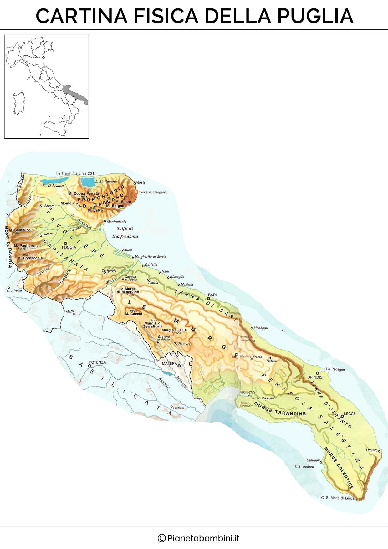 Cartina della Puglia in versione fisica