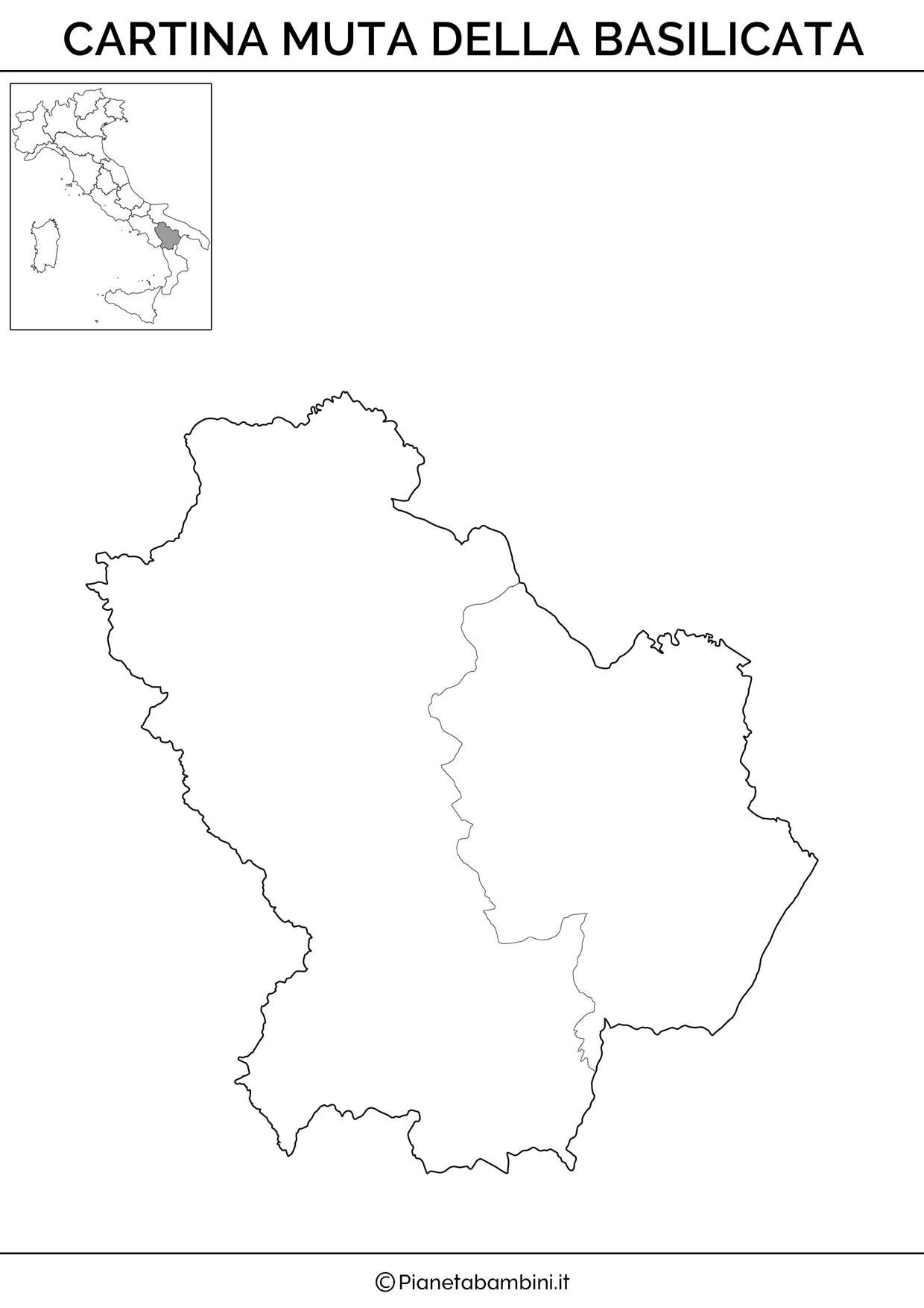 Cartina della Basilicata in versione muta da stampare gratis
