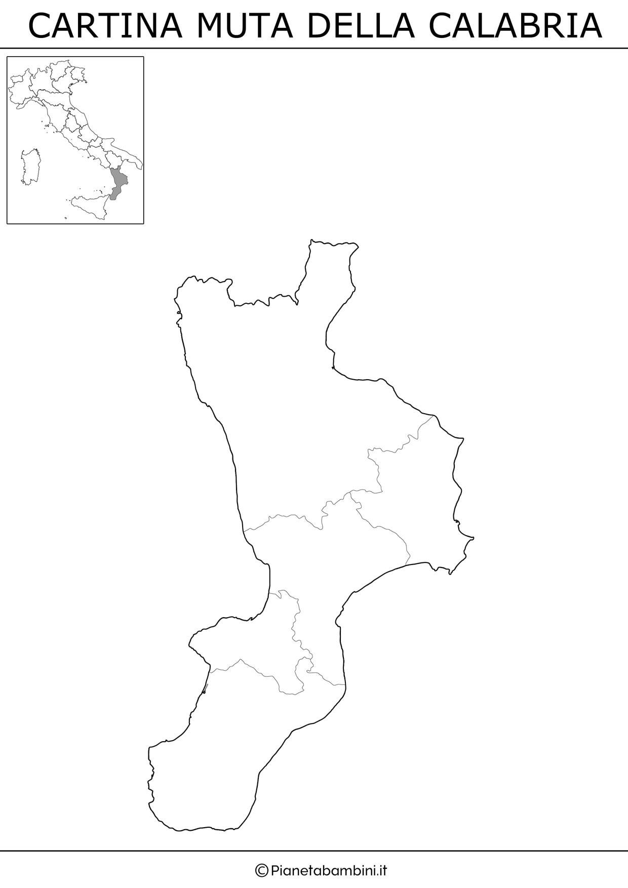 Cartina muta della Calabria da stampare gratis