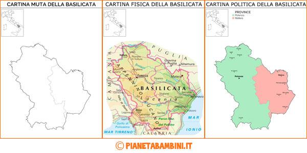 Cartina della Basilicata muta, fisica e politica da stampare gratis