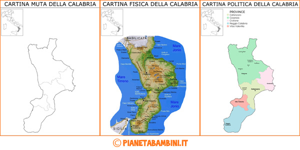 Cartina della Calabria muta, fisica e politica da stampare gratis