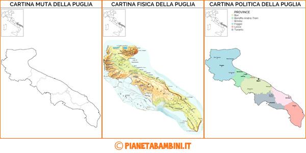Cartina della Puglia in versione muta, fisica e politica da stampare gratis