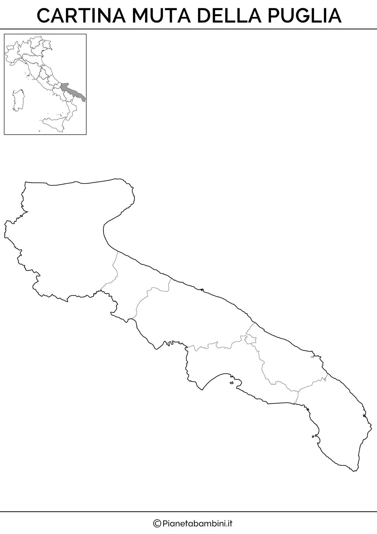 Cartina della Puglia in versione muta da stampare gratis