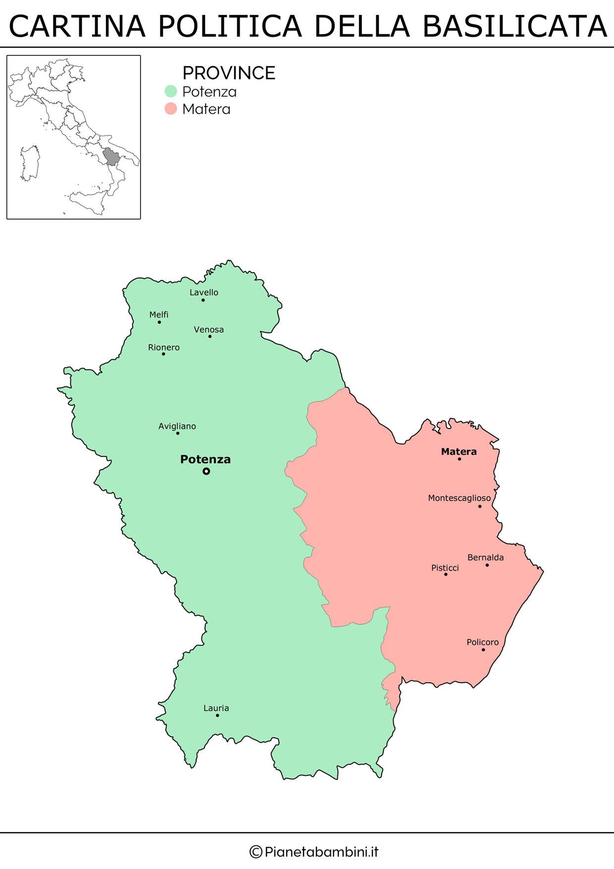 Cartina della Basilicata in versione politica da stampare gratis