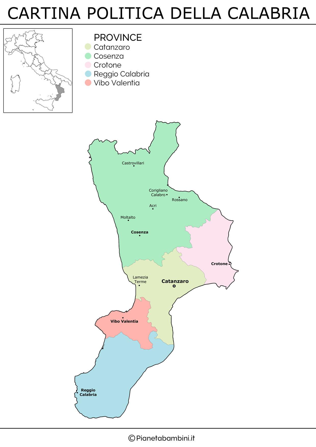 Cartina politica della Calabria da stampare gratis
