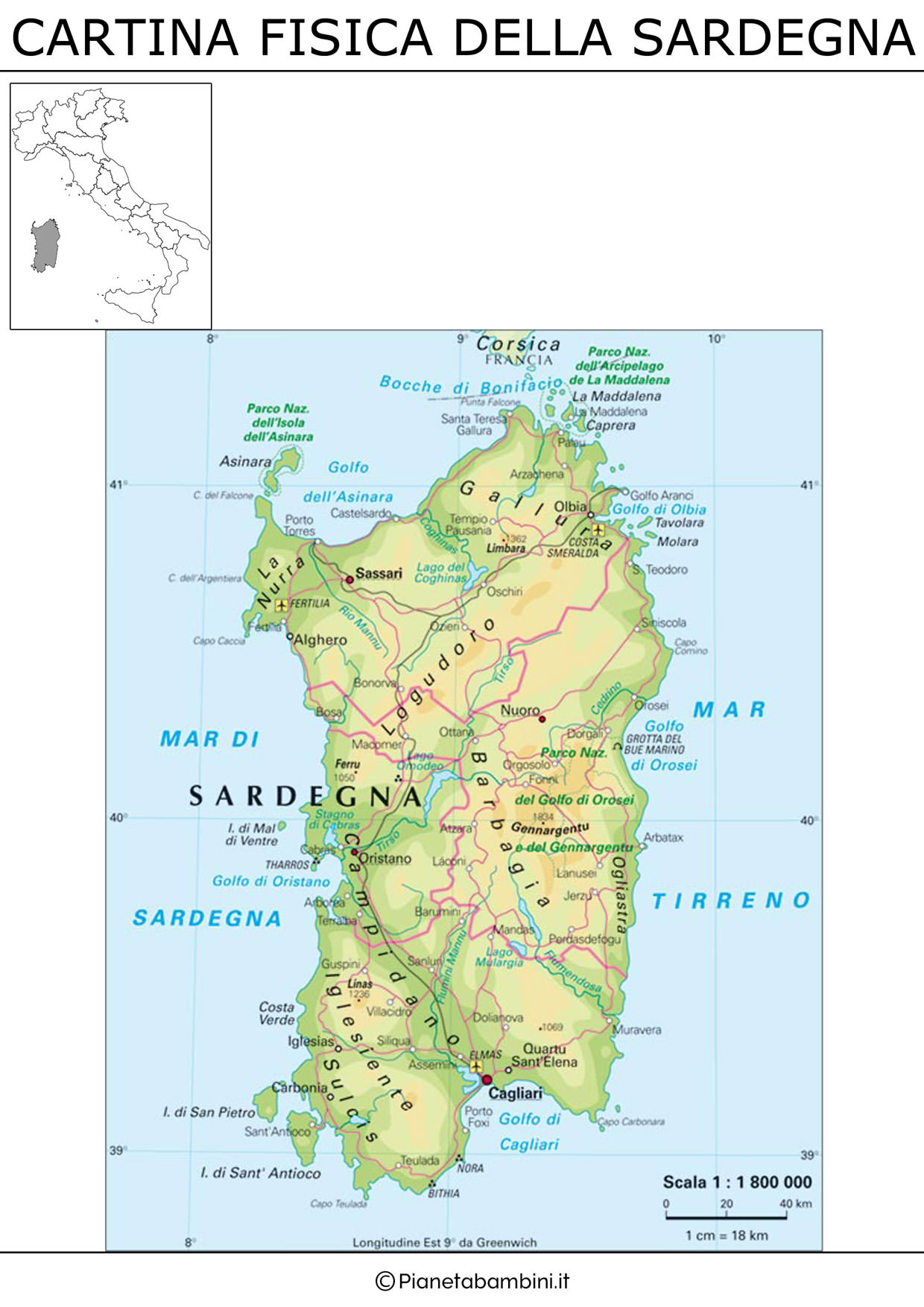 Cartina della Sardegna in versione fisica da stampare gratis