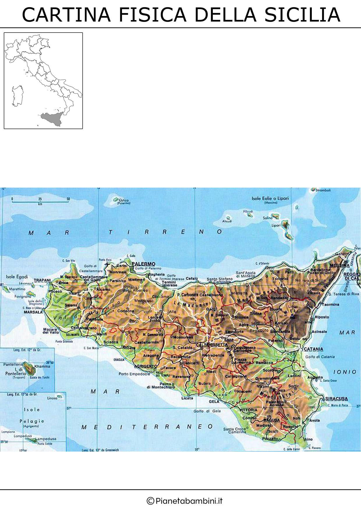 Cartina Sicilia Immagini.Cartina Muta Fisica E Politica Della Sicilia Da Stampare Pianetabambini It