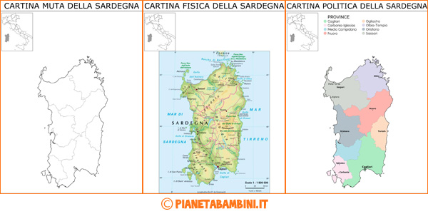Cartina della Sardegna muta, fisica e politica da stampare gratis