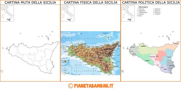 Cartina della Sicilia muta, fisica e politica da stampare gratis