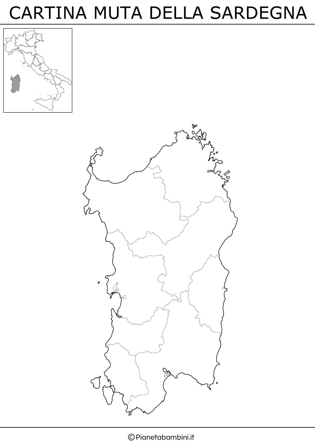 Cartina Sardegna Province.Cartina Muta Fisica E Politica Delle Sardegna Da Stampare Pianetabambini It