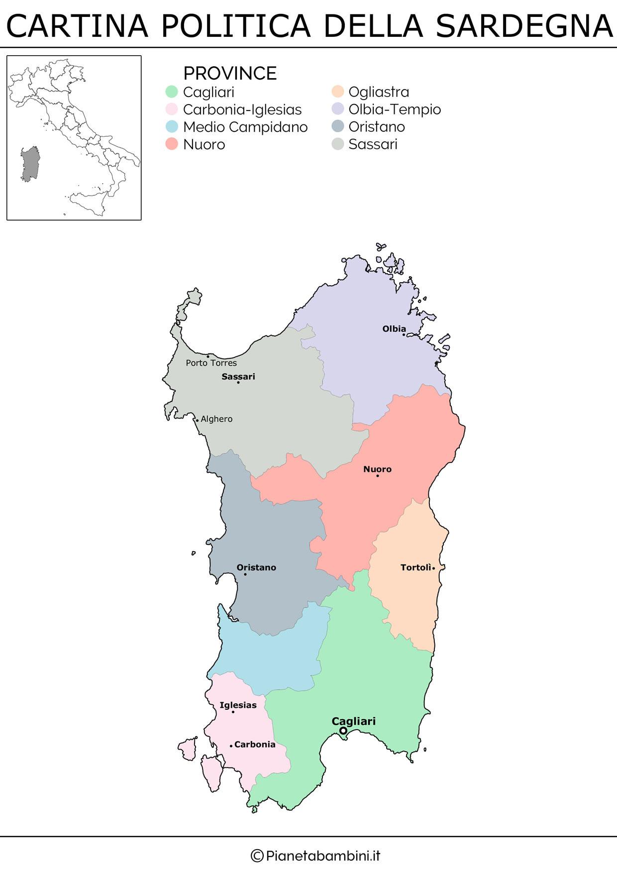 Cartina della Sardegna in versione politica da stampare gratis