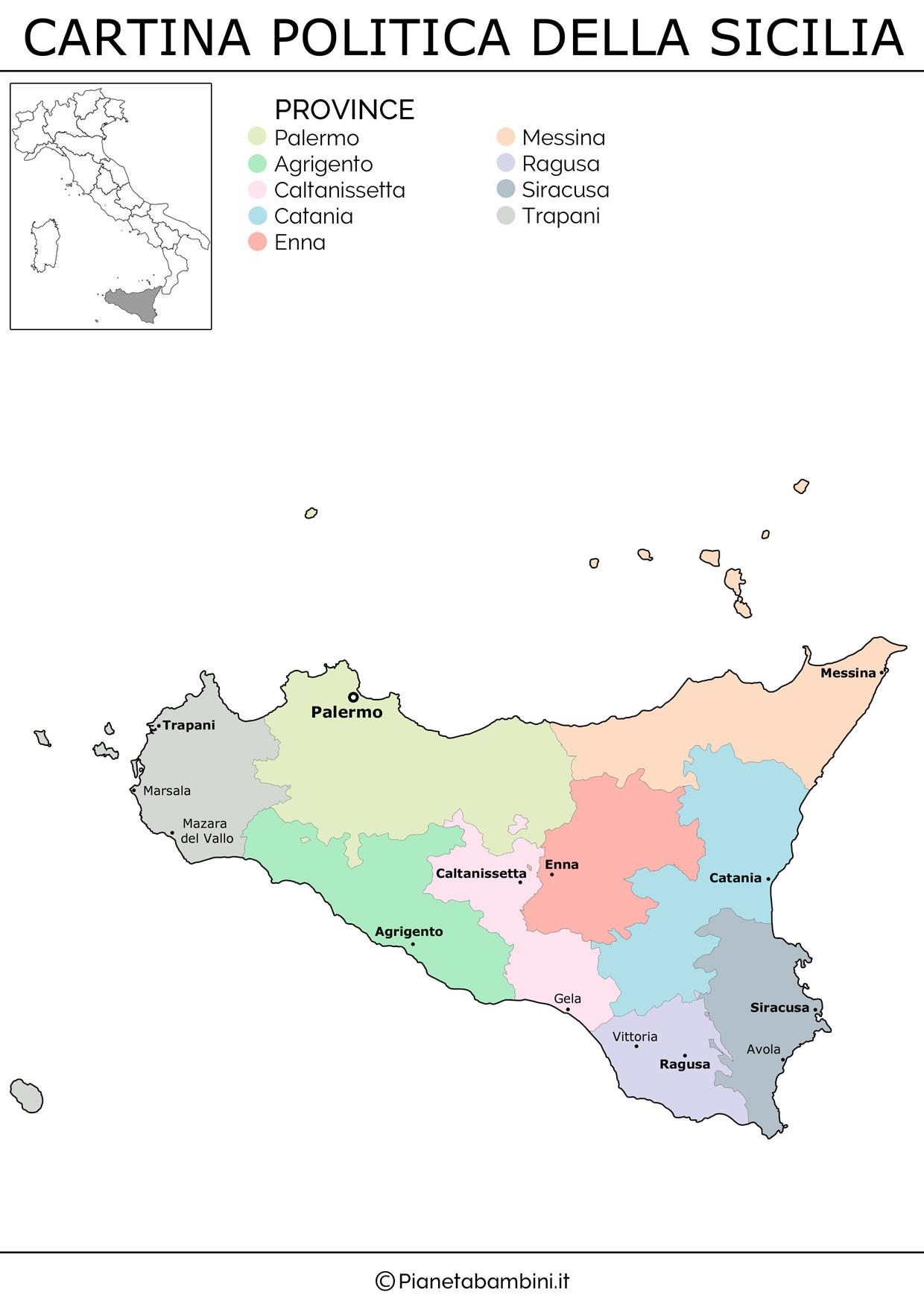Regione Sicilia Cartina Politica.Cartina Muta Fisica E Politica Della Sicilia Da Stampare Pianetabambini It