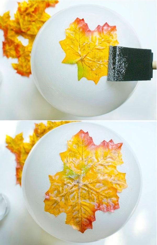 Come incollare le foglie per la creazione della ciotola