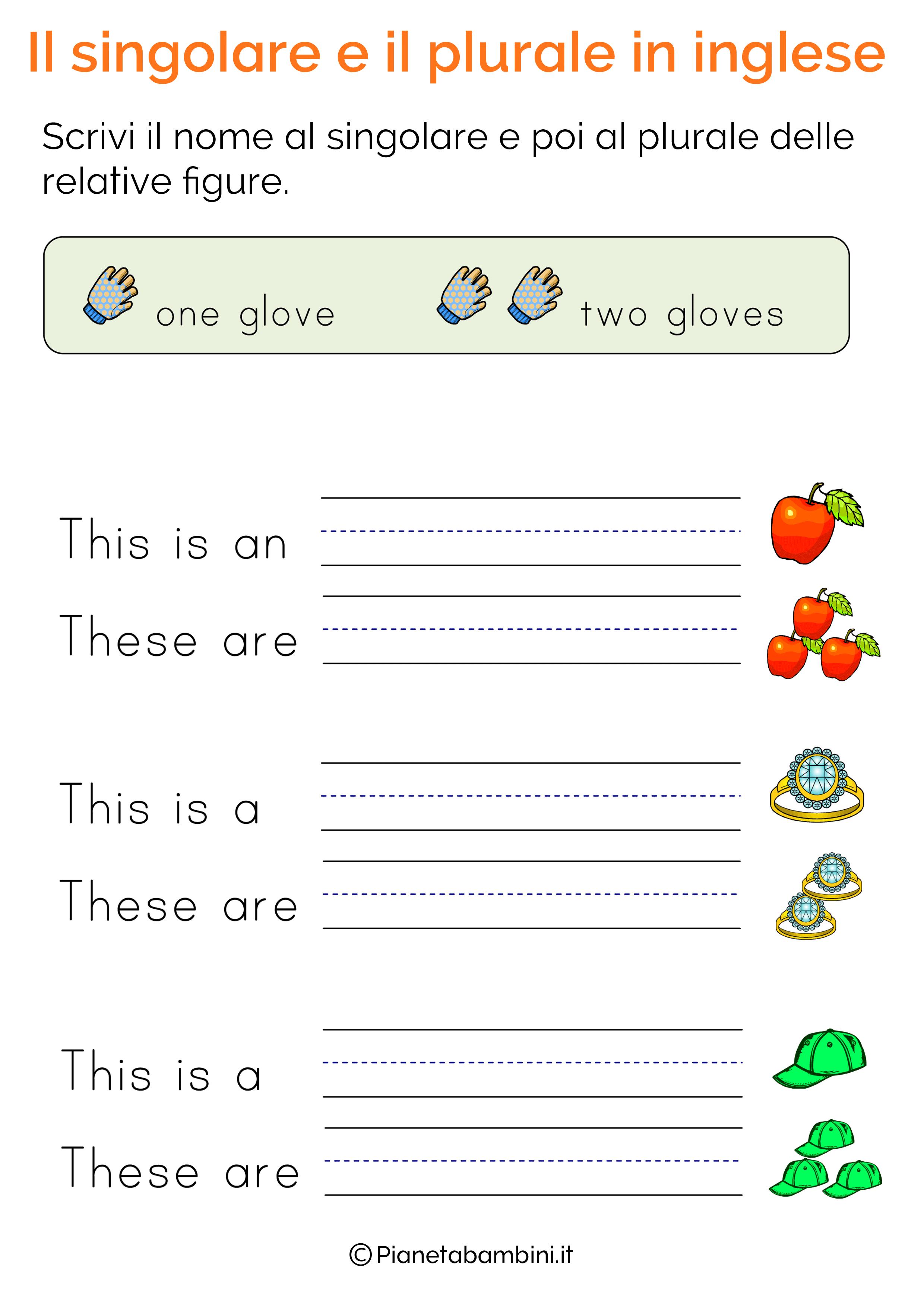 Esercizi sul singolare e plurale in inglese pagina 10