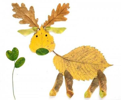 Come creare un alce con le foglie autunnali