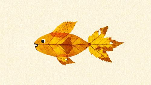 Come creare un pesce con le foglie autunnali