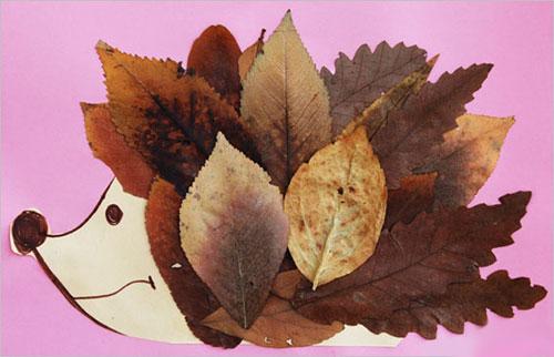 Come creare un riccio con le foglie autunnali