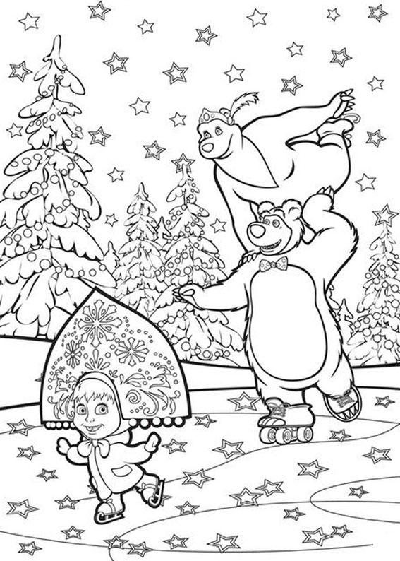 Immagini Di Natale Da Colorare Sul Computer.Disegni Da Colorare Sul Computer Masha E Orso Fredrotgans
