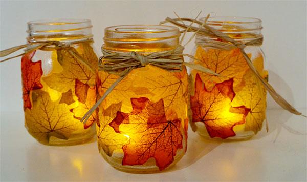 Come creare dei vasetti portacandele con foglie autunnali