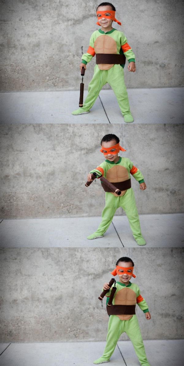 Costume delle Tartarughe Ninja fai da te terminato