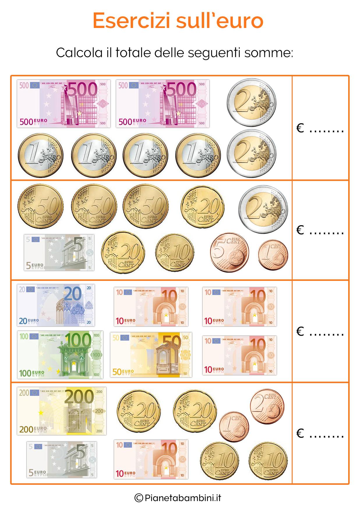 Favorito Schede Didattiche sull'Euro per Bambini della Scuola Primaria  KI85
