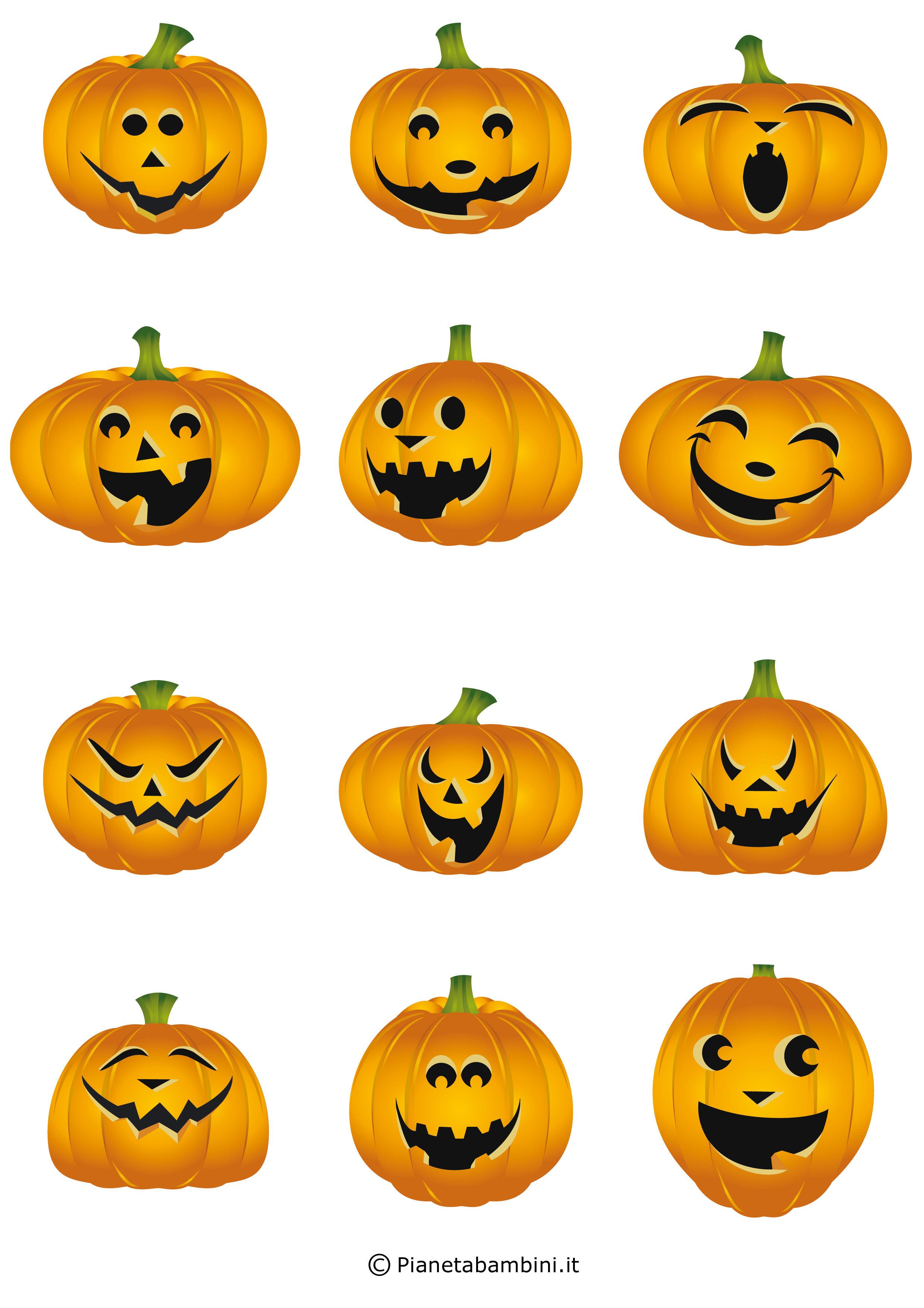 Festone di halloween con simpatiche zucche da stampare for Zucca di halloween disegno