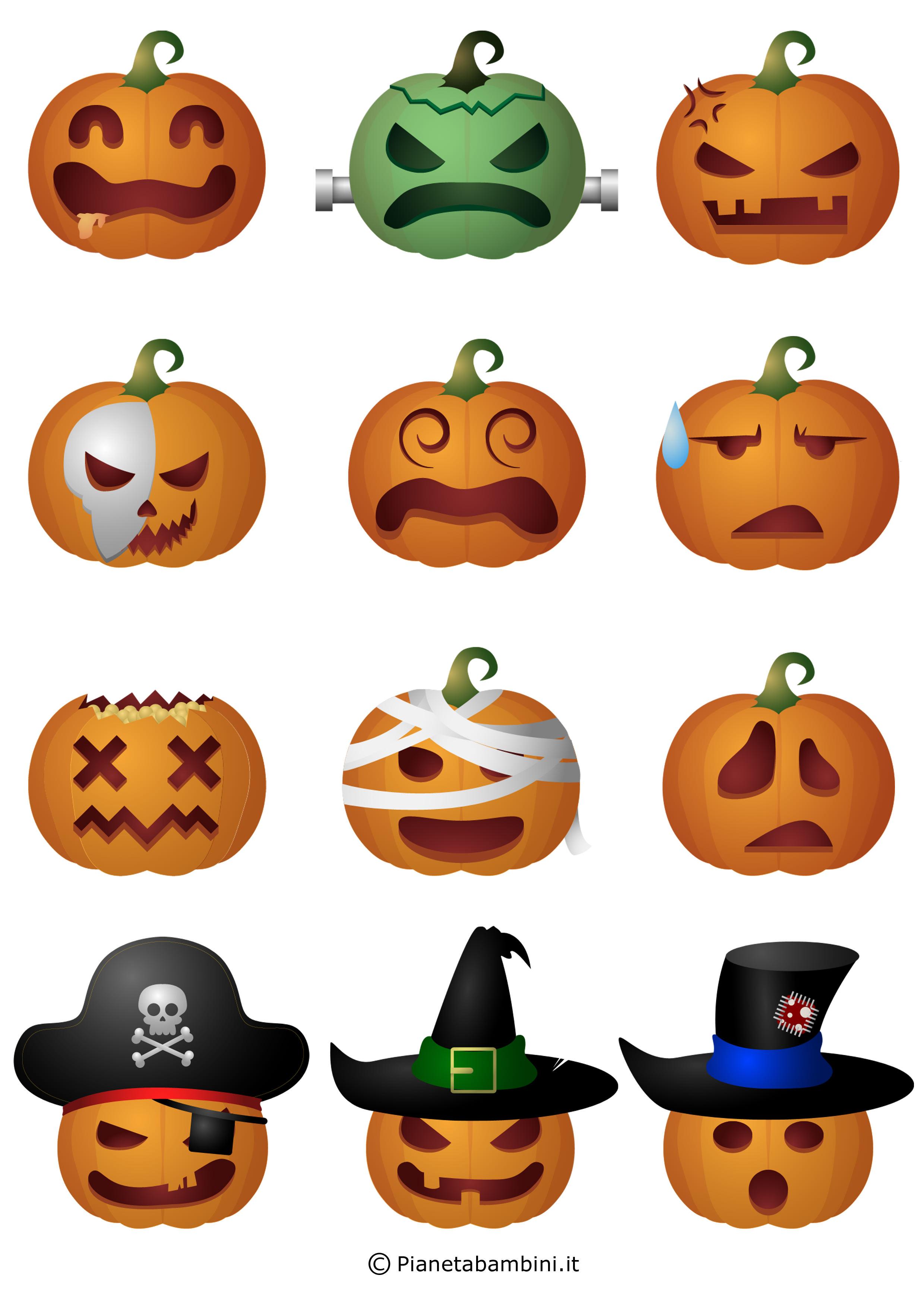 Festone di halloween con simpatiche zucche da stampare for Disegni di zucche