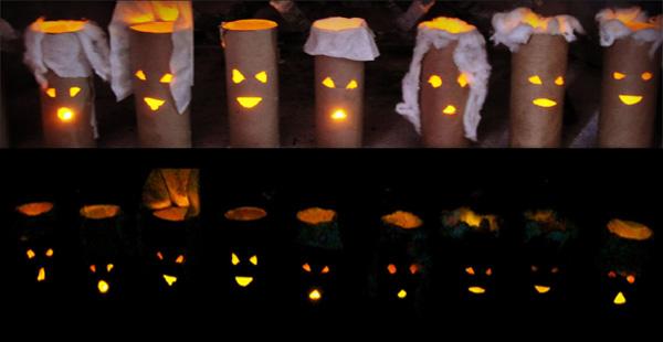 Lanterne di Halloween con rotoli di carta