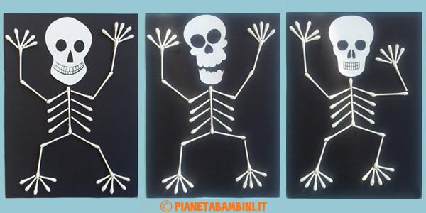 Come creare degli scheletri con cotton fioc e cartoncino per Halloween