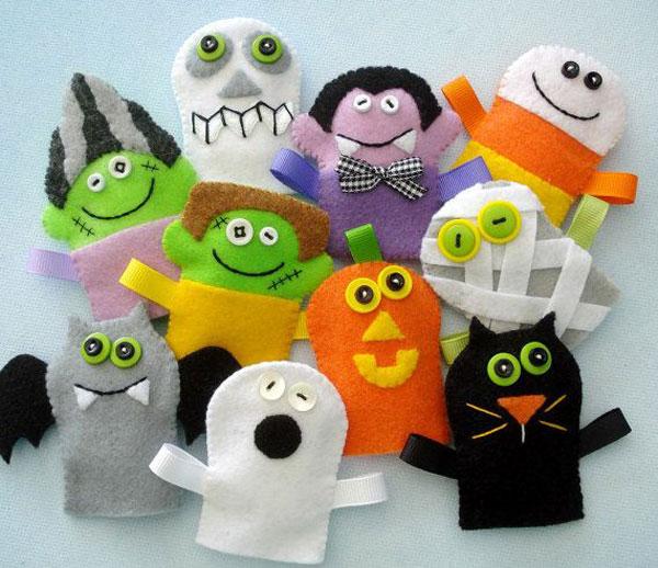 Idee per marionette da dita in feltro per Halloween n.1