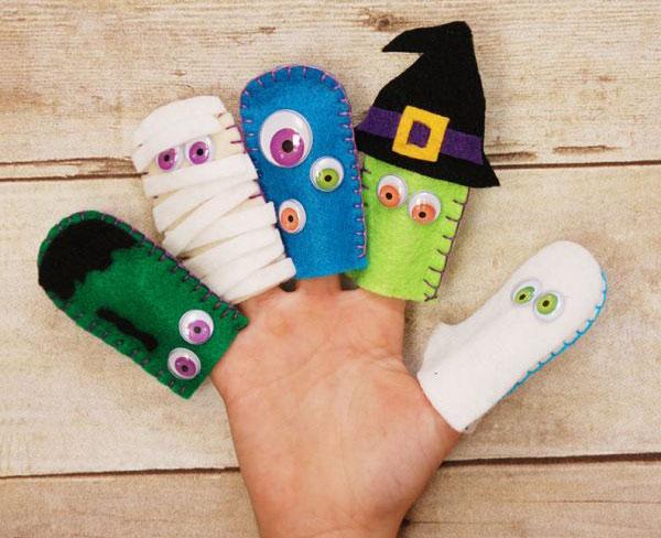 Idee per marionette da dita in feltro per Halloween n.3