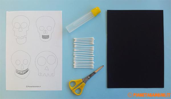 Occorrente per la creazione dello scheletro con cotton fioc