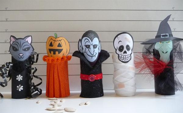 Mostri di Halloween creati con rotoli di carta n.01
