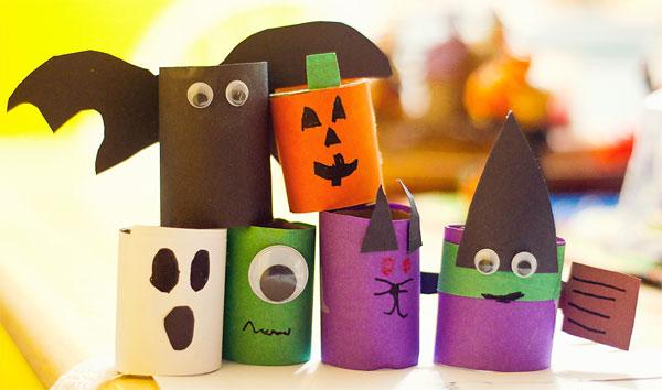 Mostri di Halloween creati con rotoli di carta n.03