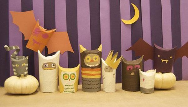 Mostri di Halloween creati con rotoli di carta n.05