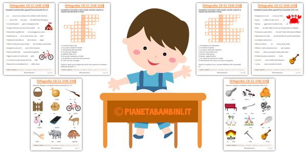 Schede didattiche per bambini su CE-CI e CHE-CHI