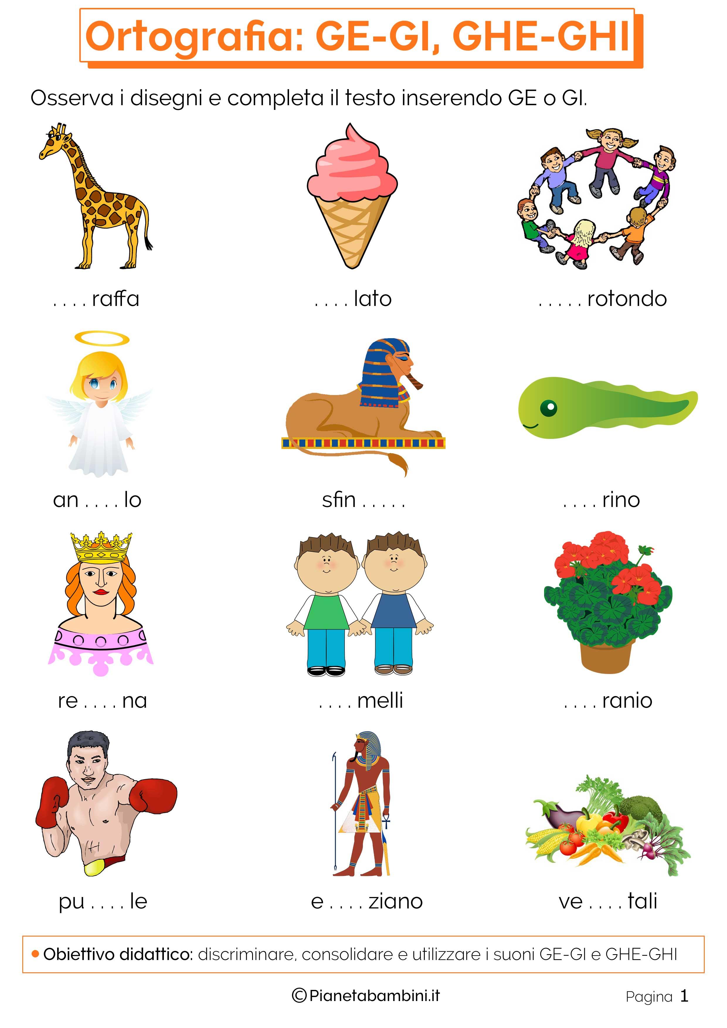 Schede didattiche su ge gi e ghe ghi da stampare for Parole con mp per bambini