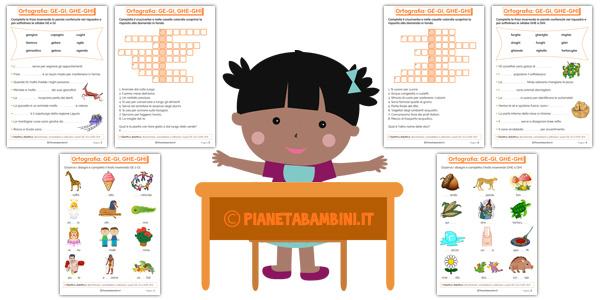 Schede didattiche su GE-GI GHE-GHI per bambini della scuola primaria