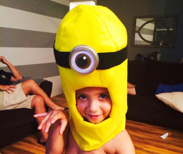Testa del costume da Minions giallo completa