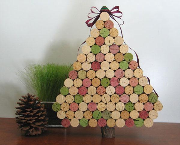 Modello di albero di Natale con tappi di sughero n.06