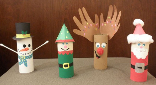 Babbo Natale ed i suoi amici realizzati con rotoli di carta