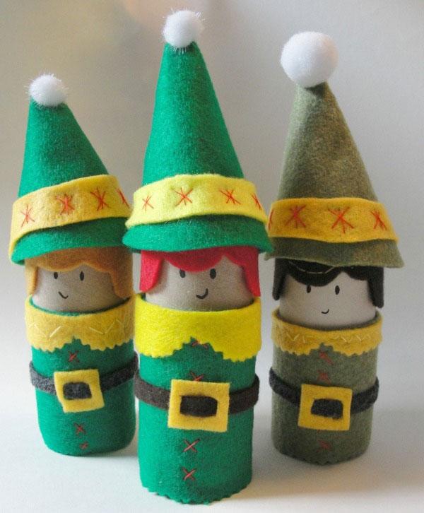 Elfi realizzati con rotoli di carta