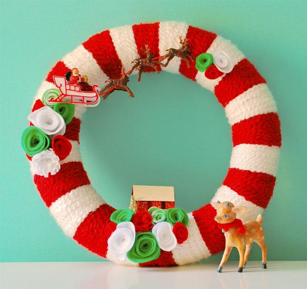 Modello di ghirlanda natalizia in feltro n.19