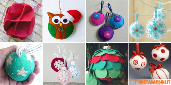 Idee per creare delle palline natalizie in feltro