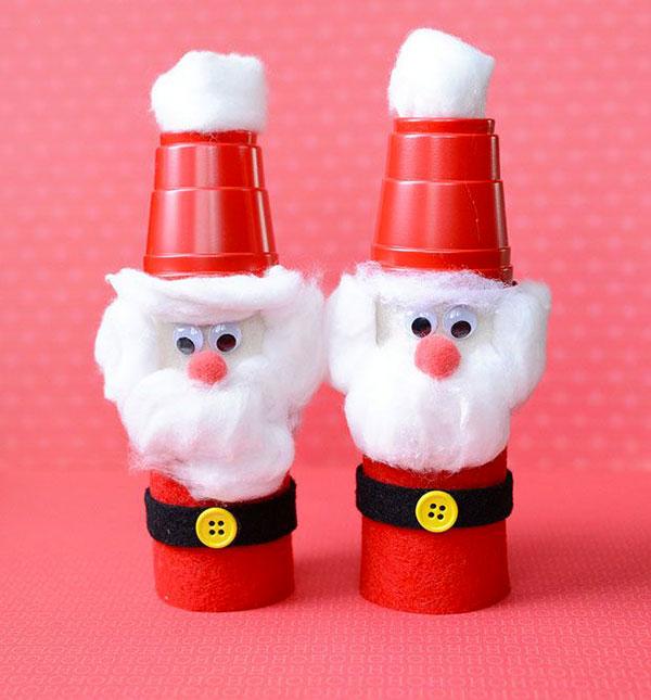 Come creare Babbo Natale con bicchieri di carta e feltro
