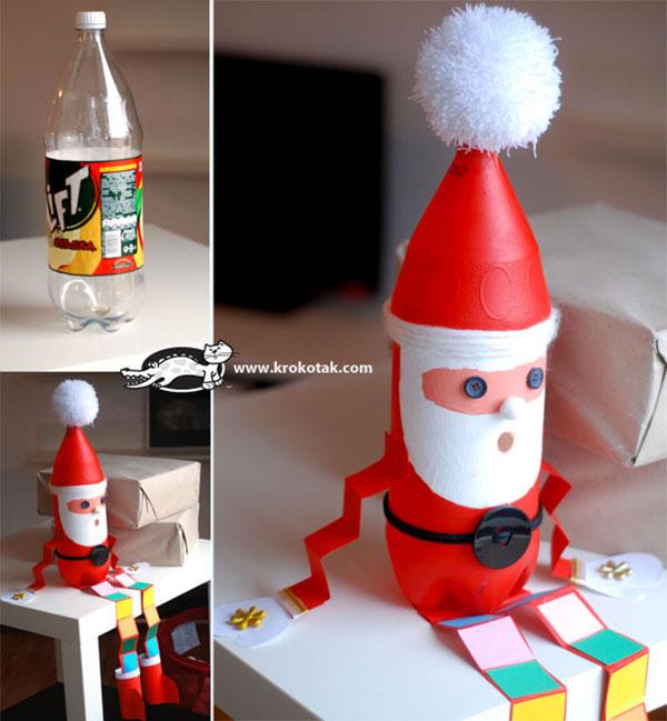 Come creare Babbo Natale con bottiglie di plastica