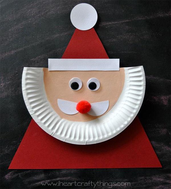 Come creare Babbo Natale con piatti di carta